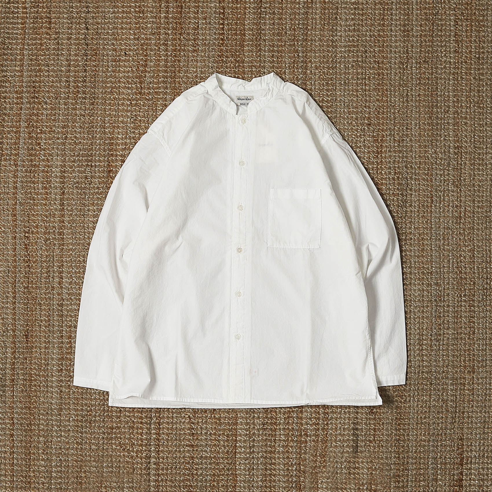STEVEN ALAN STAND COLLAR SHIRTS - WHITE